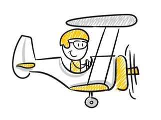 Webdesign Flugzeug Strichmännchen